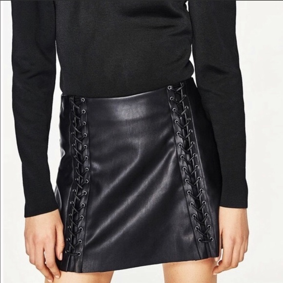 d54c5e920a8 Zara Skirts | Black Lace Up Faux Leather Mini Skirt Sz Xs | Poshmark